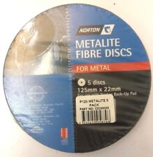 NORTON METALITE FIBRE DISCS FOR METAL P120  (PACKS OF 5) 125 MM X 22 MM