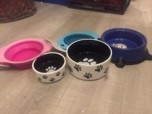 Ceramic Plastic & Collapsible Dog Bowls Paw Print Food Water Bowl Collapsable