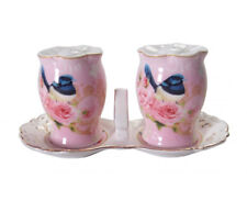 French Country Chic Collectable Salt and Pepper Set PINK BLUE WREN New Giftboxed