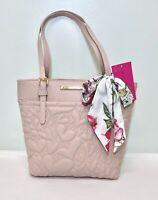 NEW Betsey Johnson Quilted Handbag Purse Blush Pink Shopper w/Scarf NWT $98.