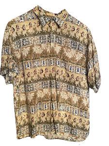 Campia Moda Hawaiian Button Front Cotton Camp Shirt Floral PALM TREES Mens X LG