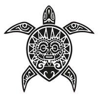 Tortue Tiki autocollant sticker adhésif Taille:4 cm couleur : blanc