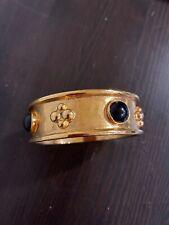 Ben-Amun Gold Black Onyx Wide Bangle Bracelet