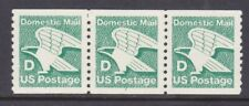 "US 2112 MNH 1985 ""D Rate (22¢) Green Eagle PNC Coil Strip of 3 Plt#2"