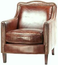 "27"" Wide club arm chair vintage brown cigar top grain leather brass nail trim"