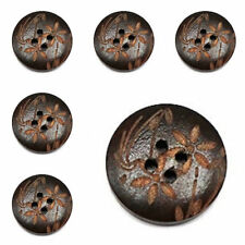100 Pcs Wholesale Dark Brown Wooden Buttons with 2 holes 20mm / 0.79''