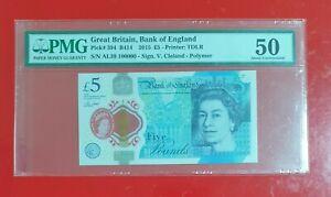 Scarce Rare Genuine 2015 Great Britain Bank of England £5 Serial No-100000 PMG50
