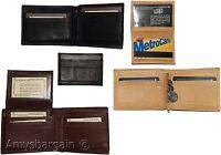 New Men's Bifold Genuine Leather Wallet, Black Brown Tan 2 Billfold coin case BN