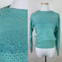 VTG 80s Mint Green Pullover Sweater S Open Knit Textured Boatneck Seafoam Kawaii