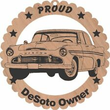 "1956 DeSoto Hardtop Large Wood Ornament Engraved 5/ 3/4"" Round"