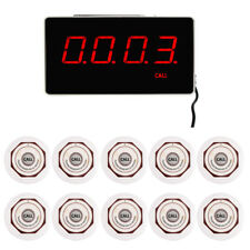 Restaurant Calling System & Receiver Host+10*Waterproof Call Button Pager 433MHz