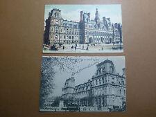 Lot042p c1903 PARIS - 2x L'Hotel de VILLE Postcards City Hall FRANCE