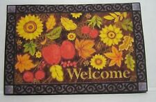 Dollhouse Miniature Fall or Thanksgiving Welcome Mat or Rug w/Floral Print