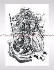 """US SELLER-waterproof tatoo worrior lion king large 8.25"""" temporary arm tattoo"""