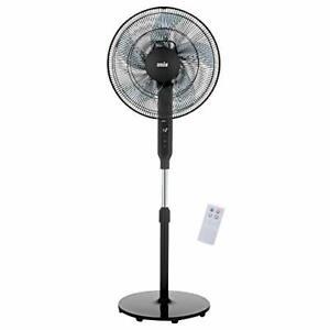 ANSIO Pedestal Fan with Remote Control-5 Blades 12 Speed-16 inch - Black