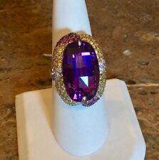 """SAMUEL BEHNAM"" 18K WG AMETHYST, YELLOW SAPPHIRE, RUBY & DIAMOND RING RET $4275"