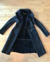 Elie Tahari Genuine Shearling Raven Black Fur Collar Long Classic Coat $2,498