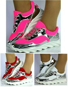 Womens Lace Up Trainers Ladies Flat Comfy Fitness Gym Running Sports Shoes Size