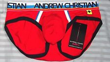 Andrew Christian mens almost naked red brief XS size extra small new w/tag
