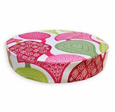 LL414r White Apple Green Pink Fushcia Red Leaf Cotton 3D Box Round Cushion Cover