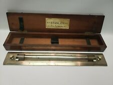 "Vintage STANLEY LONDON Rolling Parallel Maritime Ruler 15"" with Mahogany Case"