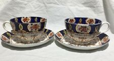 2 Vintage Stanley English China Cobalt Blue/Gold/Roses/Swags CITY Cups & Saucers