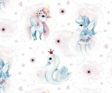 Ivory Kids Unicorn Stars Print 100/% Craft Cotton Fabric FQ 1//2 Meter or Meter UK