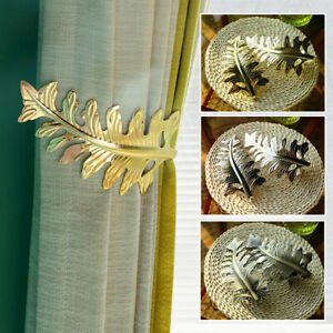 U-Shaped Leaf Metal Curtain Holdback Wall Tie Backs Hooks Hanger Holder Decor