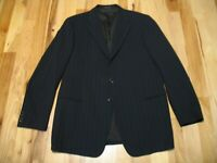 Armani Collezioni Black Striped Wool Three Button Blazer Jacket Mens 44 L EUC