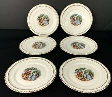 Vintage The Harker Pottery Co Courting Couple Set of 6 Dessert Plates