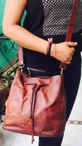 Vintage Leather Tote Bag Women Purse Shoulder Bags Travel Handbag Large