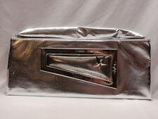 Vintage Thierry Mugler Foldover Clutch Purse Handbag Silver Metallic Lame 1970s