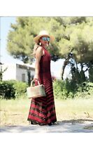 Zara Studio Ss18 Red Long Striped Crochet Dress Size L