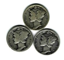 New listing 1931-P-1931-D-and 1931-S Mercury Dimes 3 coins 90% Silver Pds Year Set