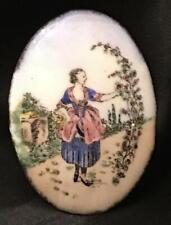 Painted for Brooch Pendant Pin Antique Victorian Enamel Portrait Cameo Hand