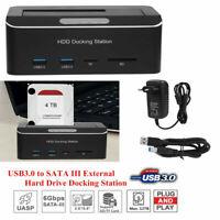 """USB 2.5""""/3.5"""" Dual Slot SATA 3 HDD Hard Drive Docking Station TF Card Reader SLS"""
