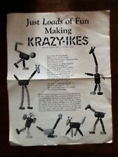 1950s KRAZY IKES Knapp Electric Toy Building Blocks Advertising Sheet IN