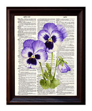 Pansies Watercolor - Dictionary Art Print Printed On Authentic Vintage