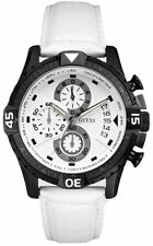 NWT GUESS CHRONOGRAPH WHITE CASE WHITE LEATHER MEN'S WATCH U15067G1