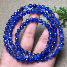 6.4mm Natural Blue Kyanite Crystal Cat Eye Beads Stretch Bracelet AAA