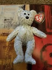 NEW TY RARE AND RETIRED BEANIE BABY THE BEGINNING BEAR WHITE WITH STARS MWMT