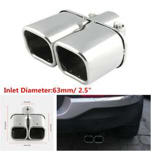 Stainless steel Chrome Car Dual Exhaust Tip Square Tail Pipe Muffler 63mm / 2.5""