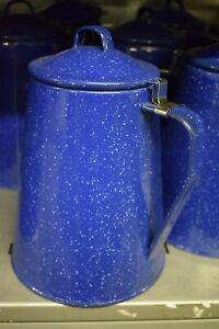 Restposten_Kaffeekanne Emaille blau mit Perkolator