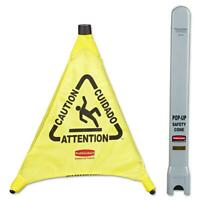 NEW Rubbermaid Commercial Yellow Pop-Up Safety Cone Multi-Lingual Caution Tube