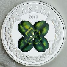 Canada 2018 $20 Lucky Four Leaf Clover 1 oz. Pure Silver Color Proof Coin