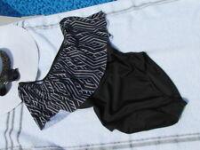 Off Shoulder Ruffle one Piece Swimsuit Monokini Black Print Bathing Suit Size M