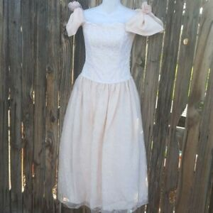 Vintage Scott McClintock Blush Sparkly Princess Ball Gown 80s Gunne Sax Pink