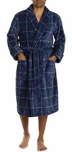 Tommy Hilfiger Men's Plush Robe with Pockets Navy Plaid LARGE/XL