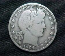 1904-O Barber 90% Silver Half Dollar circulated condition