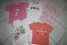 5x Mädchen T-Shirt, Shirtpaket, rosa, orange, weiß, Snoopy, Gr. 110, 116